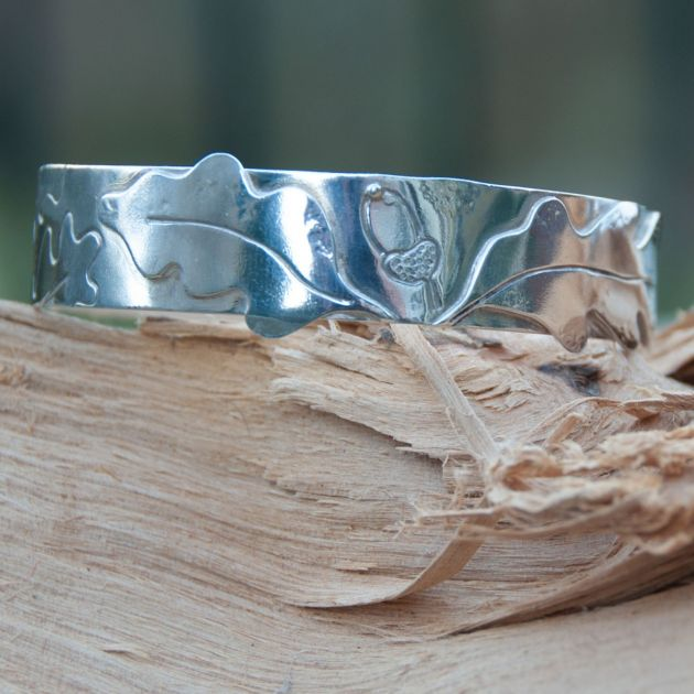Appliqued Oak & Acorn Bangle