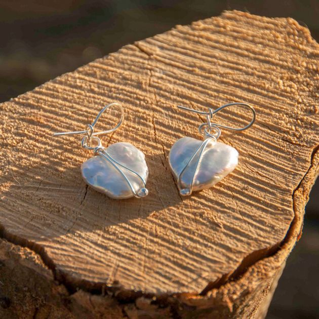 Heart shaped Freshwater Pearl Earrings