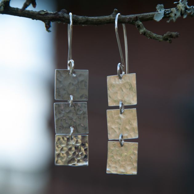 Sterling Silver Beaten 3 square drop earrings
