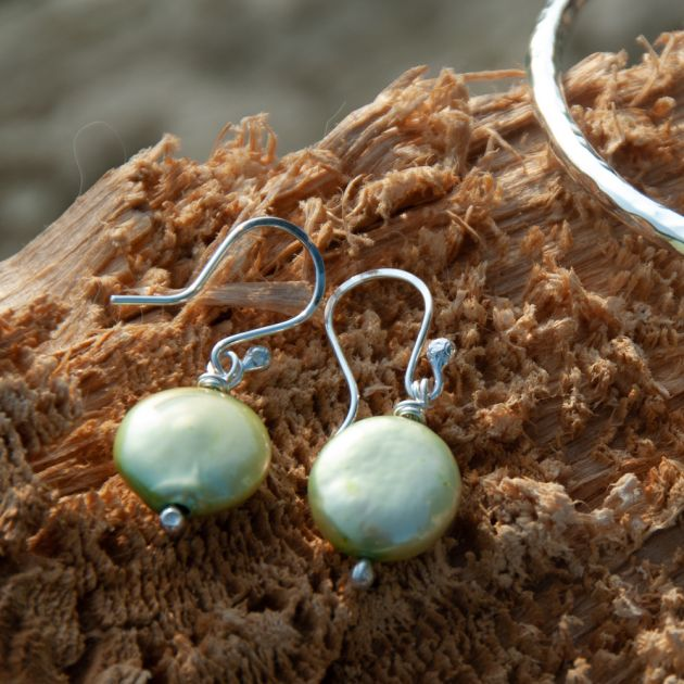 Freshwater coin pearl earrings-Pale Green Coin
