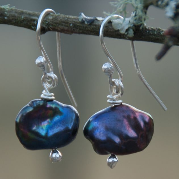 Purple Dyed Freshwater Pearl Earrings