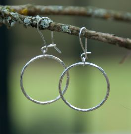Sterling Silver Beaten Hoops with safety ear wires
