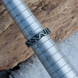 Wriggly Line Ring with an oxidised finish